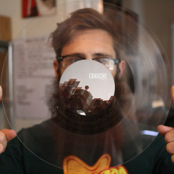 "Ebauche Adrift - clear polycarbonate lathe cut 10"" record"